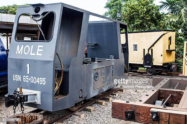 Antique Old Gray and Black Midget Navy Mole Train at the Hawaiian Railroad Society Depot and Yard in Ewa Hawaii on the Island of Oahu Train Rides On...