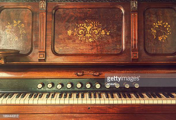 antique organ - pianist front stock pictures, royalty-free photos & images