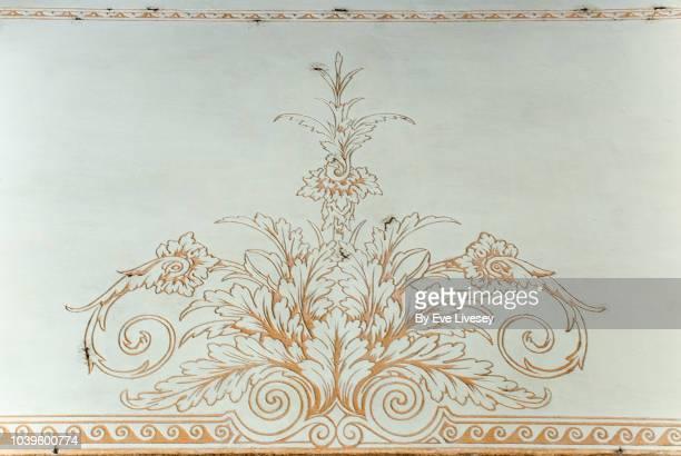 antique painted wall texture - diseño floral fotografías e imágenes de stock