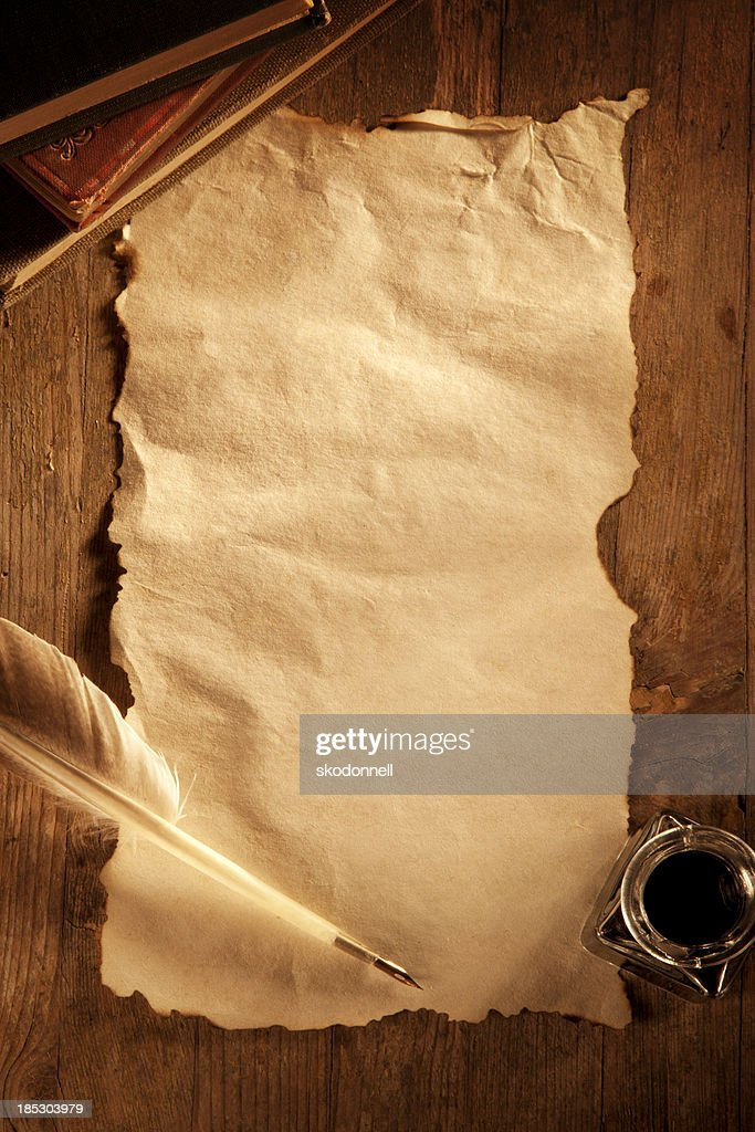 Antique Paper on a Wooden Desk : Stock Photo