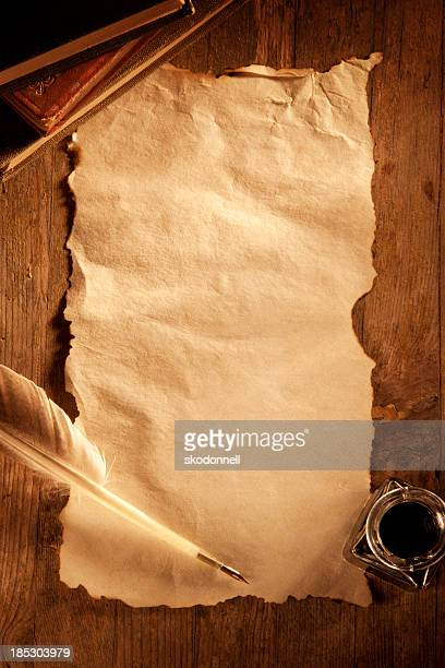 antique paper on a wooden desk - the past stock pictures, royalty-free photos & images