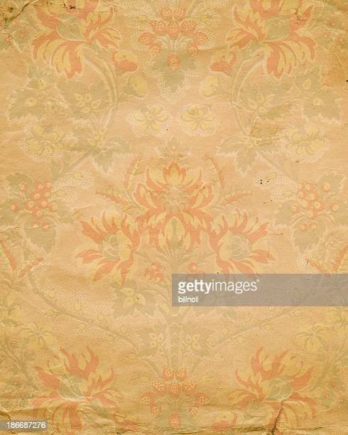antique paper with faded floral pattern