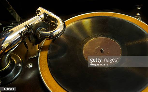 Antique phonograph with a record