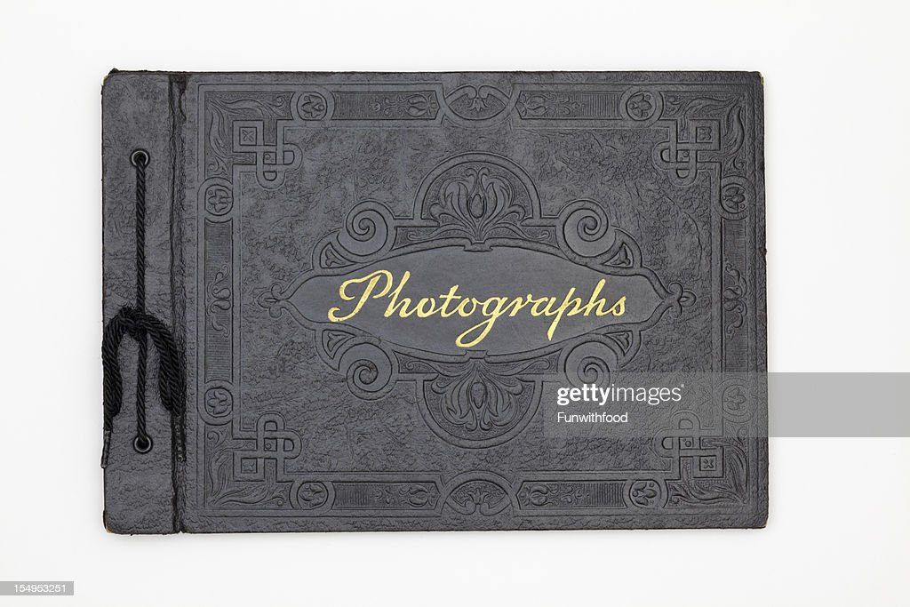 Antique Photography Book Cover, Old Black Leather Photograph Album : Stock Photo
