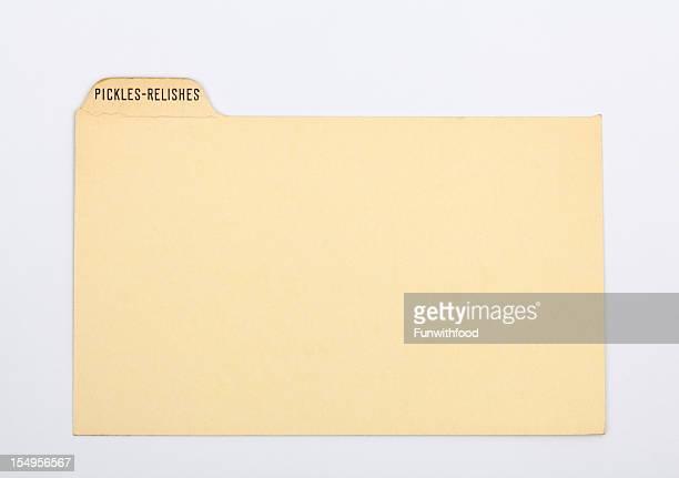 アンティークピクル&「レリッシュ」のレシピカード紙の背景指数