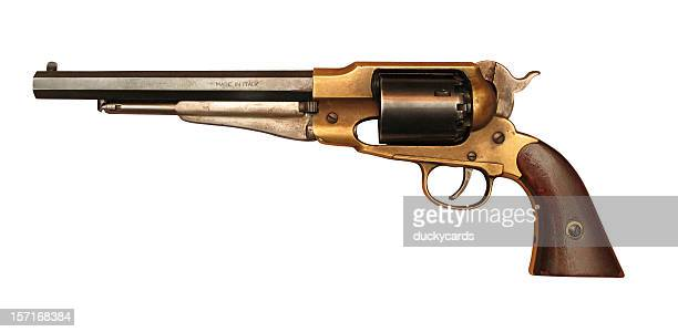 antique pistol (with clipping path) - handgun stock pictures, royalty-free photos & images