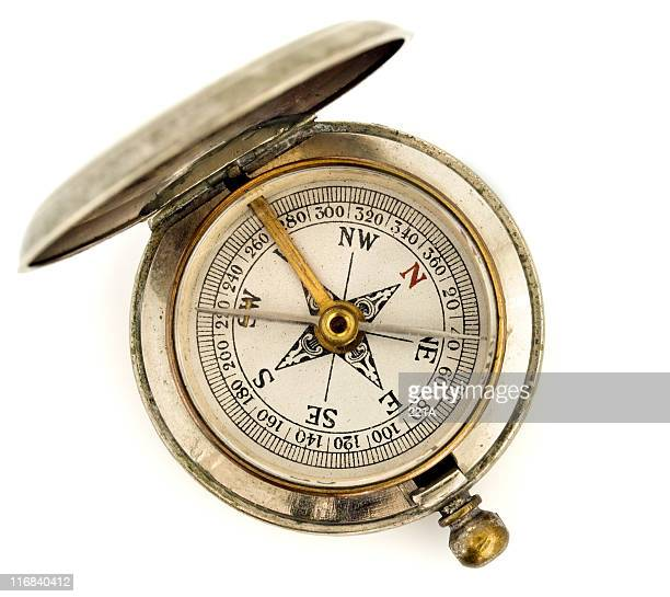 antique pocket compass on white - compass stock pictures, royalty-free photos & images