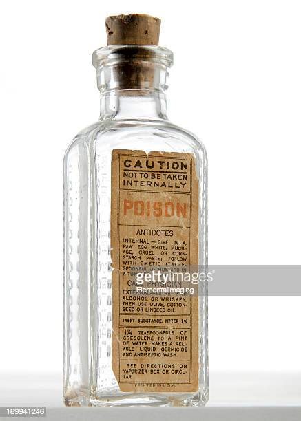 antique poison bottle with cork stopper isolated on white - toxin stock pictures, royalty-free photos & images