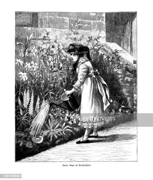 antique portrait of princess victoria watering her garden at kensington palace - the royal photographic society stock pictures, royalty-free photos & images