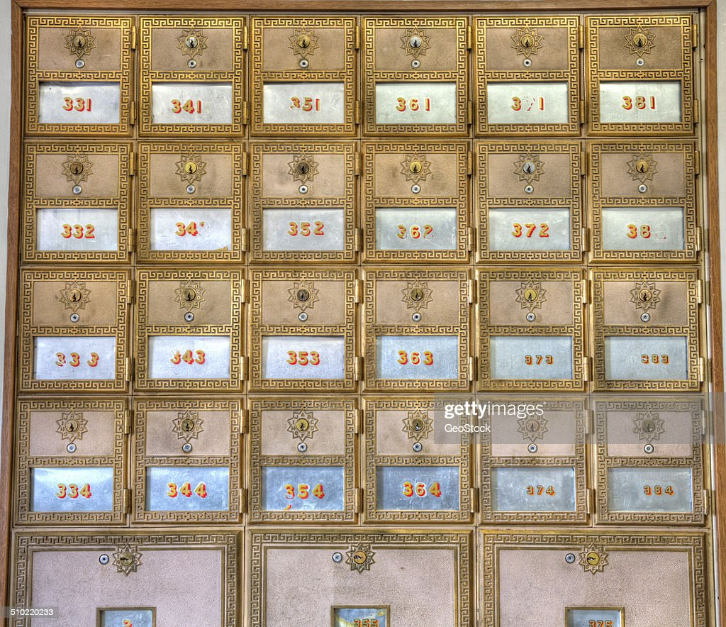 Antique Post Office Mailboxes : Stock Photo