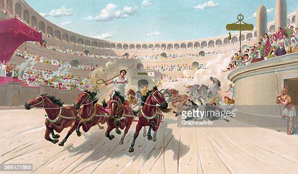 Antique print of the chariot race from BenHur chromolithograph circa 1880