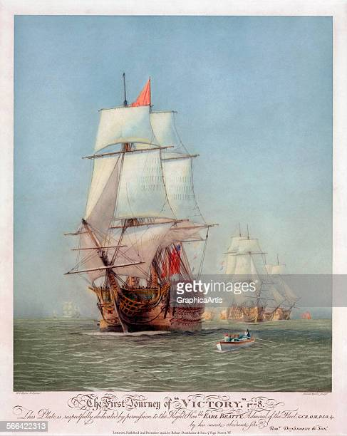 Antique print 'The First Journey of HMS Victory in 1778' by Harold Wyllie etching and aquatint 1922