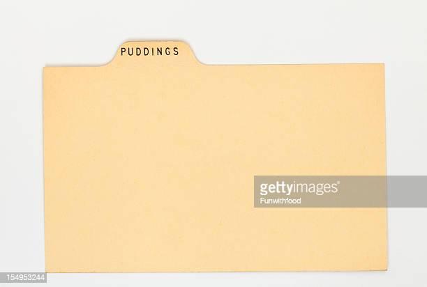 アンティークプリン指数&伝統的なレシピカード、ヴィンテージ紙の背景 - インデックスカード ストックフォトと画像