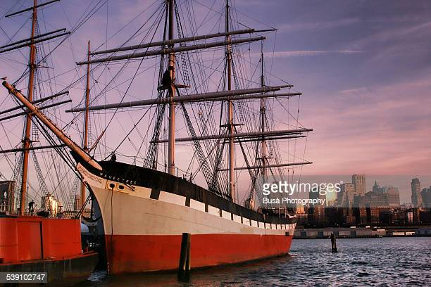 antique sailboats at south street seaport, nyc - south street seaport stock photos and pictures