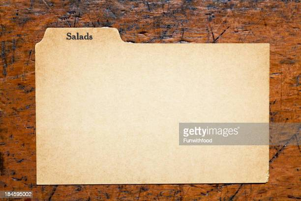 Antique Salad Blank Index Recipe, Old Fashioned Paper Card Background