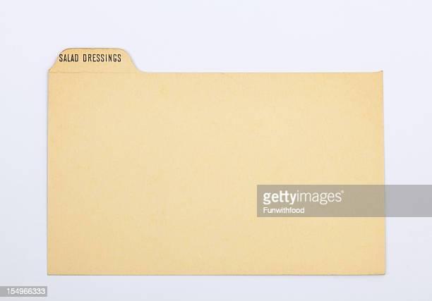 アンティークのサラダ dressng 指数&伝統的なレシピカード、紙の背景 - インデックスカード ストックフォトと画像