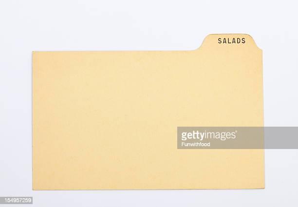 アンティークのサラダ指数&昔ながらのレシピカード、古いヴィンテージ紙の背景