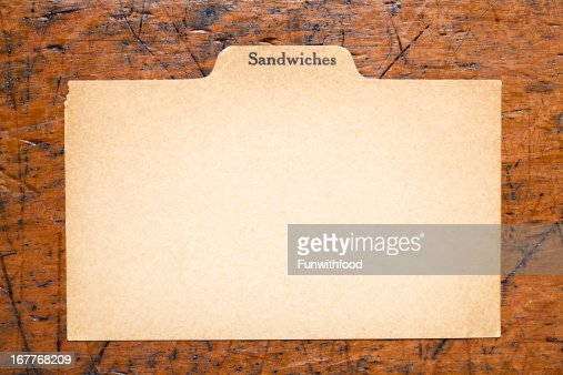 antique sandwich blank index recipe old fashioned paper