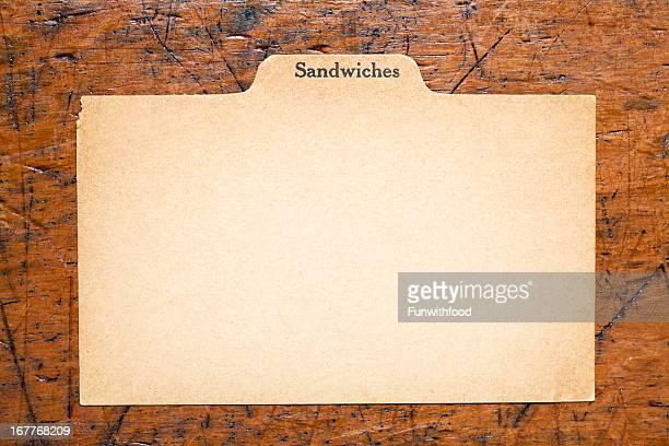 アンティークのサンドイッチブランク指数レシピ、伝統的な紙の背景カード