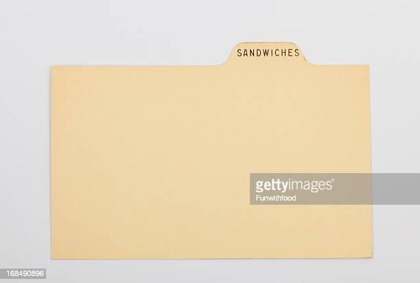 アンティークサンドイッチ指数&昔ながらのレシピカード、古いヴィンテージ紙の背景
