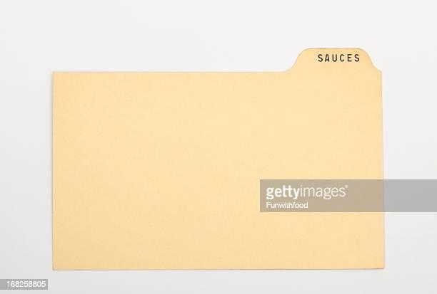 アンティークソース指数&昔ながらのレシピカード、古いヴィンテージ紙の背景 - インデックスカード ストックフォトと画像