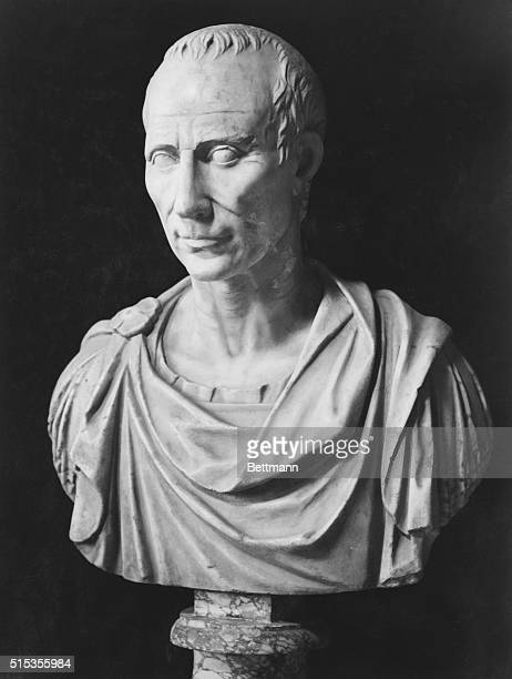 Antique sculpture of Julius Caesar Rome Vatican Museum He was born 100 B C died 44 B C and was a Roman general and statesman