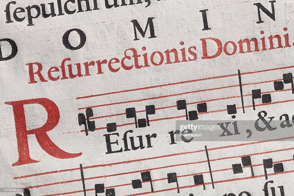 Antique sheet music. Latin hymnal parchment. : Stock Photo