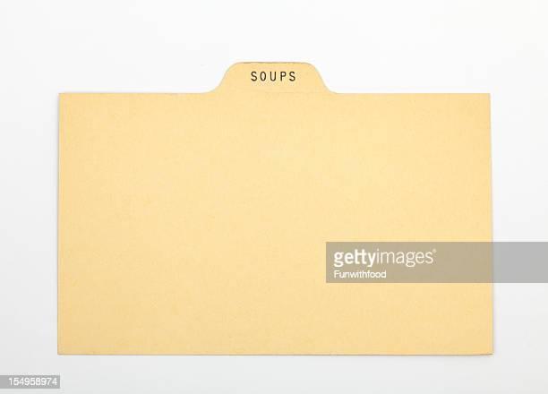アンティークのスープ指数&伝統的なレシピカード、紙の背景