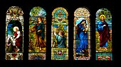 Antique Stained Glass in Sanctuary