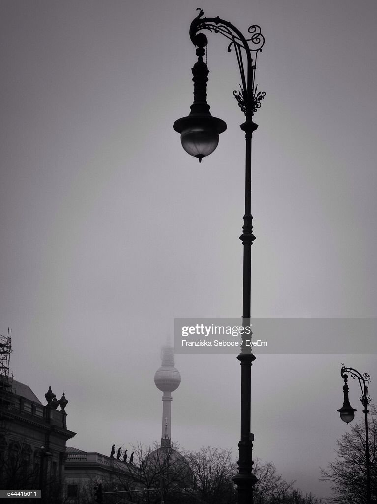 Antique Street Light With Fernsehturm In Background Against Sky Stock Photo | Getty Images & Antique Street Light With Fernsehturm In Background Against Sky ... azcodes.com