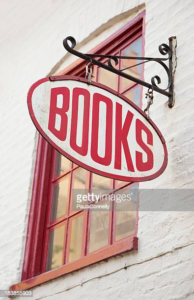 Antique style bookstore with red text