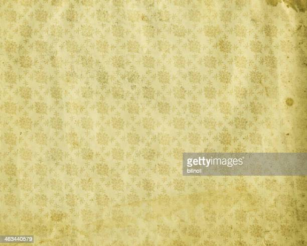 antique style stained floral wallpaper