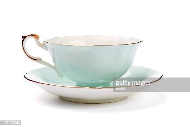 antique tea cup - saucer stock pictures, royalty-free photos & images