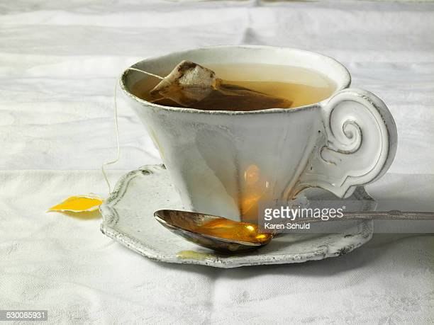 Antique teacup on table