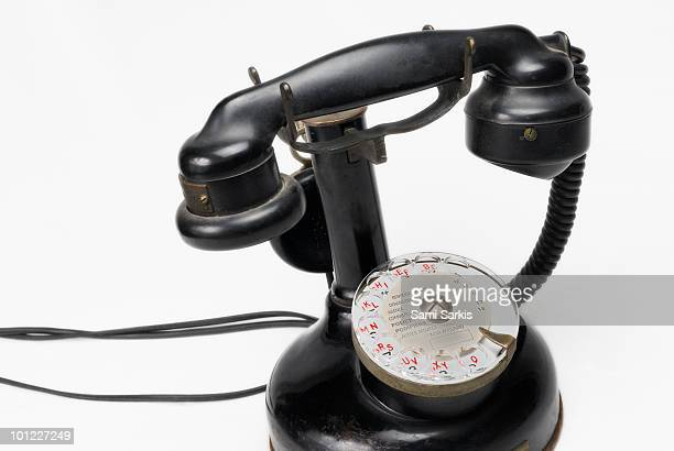 antique telephone (thomson 1921) french dial  - candlestick phone stock pictures, royalty-free photos & images
