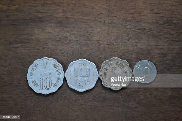 Antique ten paise coins