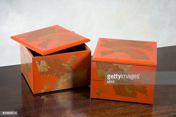 Antique tiered lacquer ware box