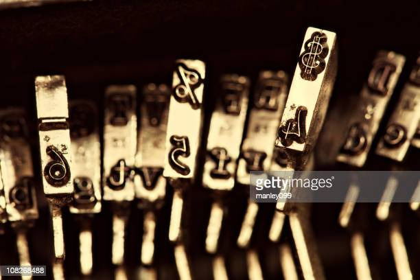 antique typewriter stamps - dollar sign key stock photos and pictures