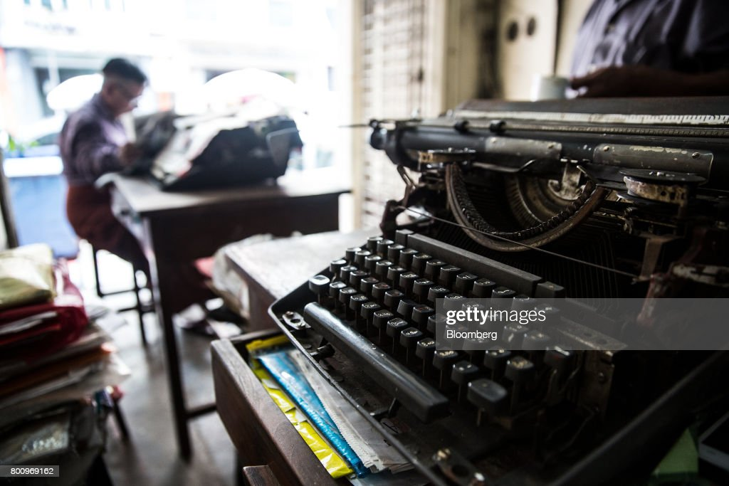 Antique typewriters sit in a workshop in Yangon, Myanmar, on Friday, June 16, 2017. A pariah state for decades, Myanmars recent emergence from economic isolation has attracted foreign companies and investors intrigued by the Southeast Asian nations untapped potential, abundant natural resources and low wage workforce. Photograph: Taylor Weidman/Bloomberg via Getty Images