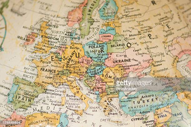 Antique Vintage Map of Europe Selective Focus Sepia