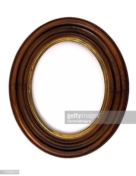 Antique Walnut Oval Picture Frame  Isolated on White