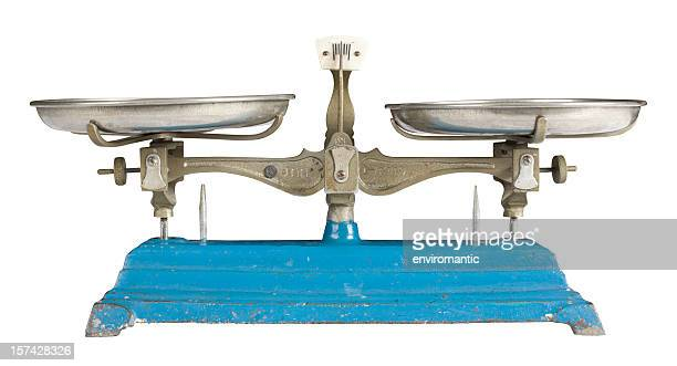 Antique weighing scales with clipping path.