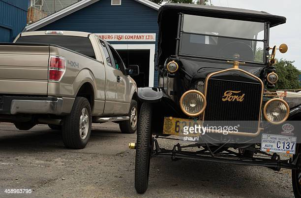 antique with modern - model t ford stock pictures, royalty-free photos & images