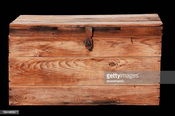Antique wooden box with clipping path.