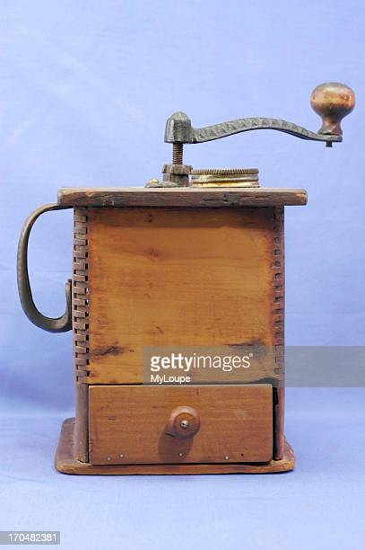 Antique wooden coffee grinder from the late 19th century
