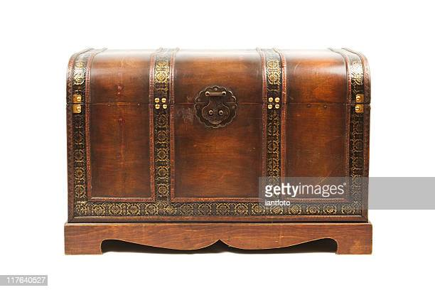 antique wooden trunk - chest stock photos and pictures