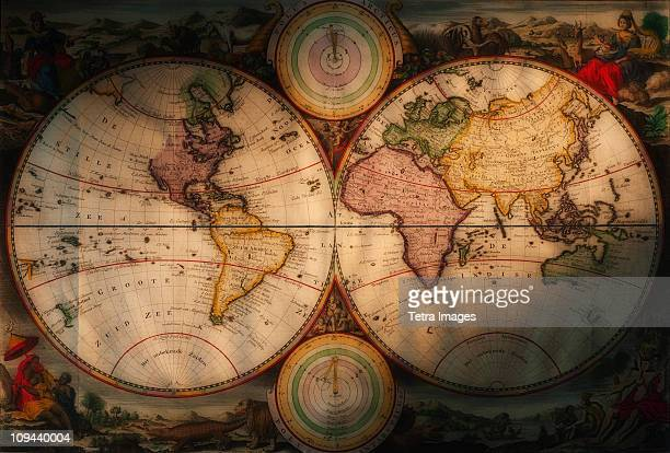 antique world map - history stock pictures, royalty-free photos & images