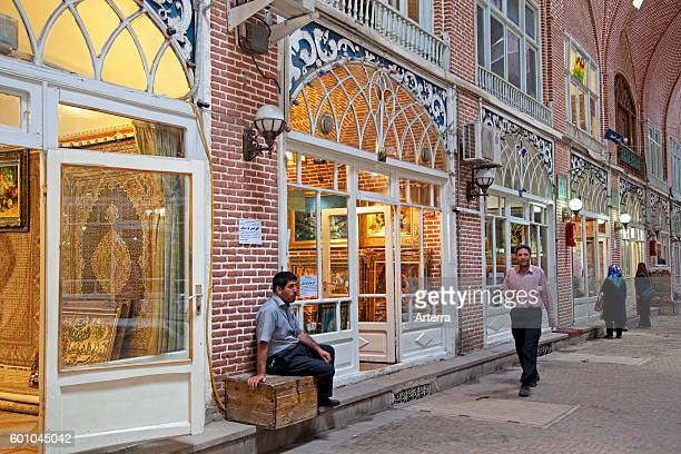 Antiques and carpets for sale in shops in the old historic bazaar of the city Tabriz, East Azerbaijan, Iran.