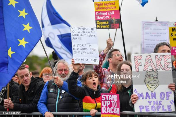 Antiracism demonstrators protest outside the corn Exchange against a rally being attended by Nigel Farage's Brexit Party leader on May 17 2019 in...
