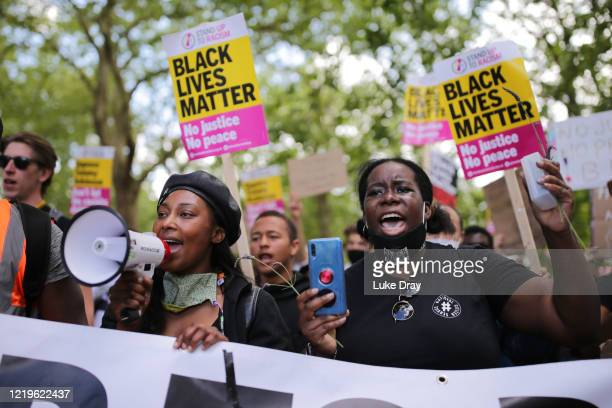Antiracism protesters attend a Black Lives Matter demonstration on June 13 2020 in London England A number of antiracism protesters have gathered in...